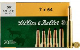 Sellier & Bellot SB764B Rifle Hunting 7X64mm Brenneke 173  GR Spce (Soft Point Cut-Through Edge) - 20rd Box