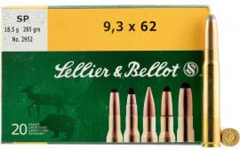 Sellier & Bellot SB9362A Rifle 9.3mmX62 Mauser 285 GR Soft Point - 20rd Box