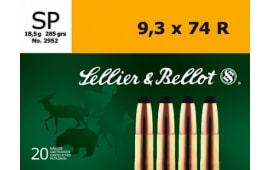 Sellier & Bellot SB9374RA Rifle 9.3mmX74R 285  GR Soft Point - 20rd Box