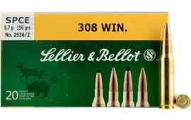 Sellier & Bellot SB308D Rifle Hunting 308 Win/7.62 NATO 150  GR Spce (Soft Point Cut-Through Edge) - 20rd Box