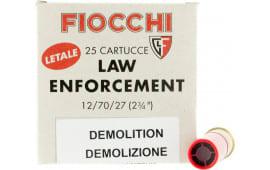 """Fiocchi 12LEDEMO Lead and Wax Buckshot/Slug 12 GA 2.75"""" 1oz Slug Shot 25 Bx - 25sh Box"""