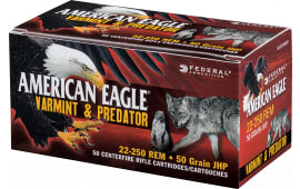 Federal AE22350VP American Eagle 223 Remington 50 GR Jacketed Hollow Point - 250 Round Case