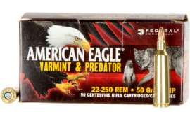 Federal AE2225050VP American Eagle 22-250 Remington 50 GR Jacketed Hollow Point - 50rd Box