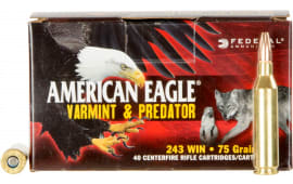 Federal AE24375VP American Eagle 243 Winchester 75 GR Jacketed Hollow Point - 40rd Box