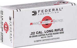 Federal RTP2240 Range and Target 22 Long Rifle (LR) 40  GR Copper-Plated Round Nose - 50rd Box
