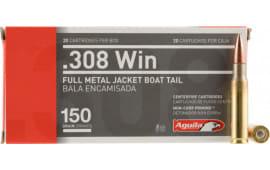 Aguila 1E308110 308 Winchester/7.62 NATO 150 GR Full Metal Jacket Boat Tail - 20rd Box