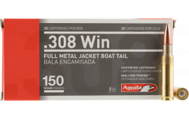 Aguila 1E308110 308 Winchester/7.62 NATO 150 GR Full Metal Jacket Boat Tail - 20rd Box
