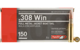 Aguila 1E308110 Case, 308 Winchester, 150 GR Full Metal Jacket Boat Tail - 500 Round Case