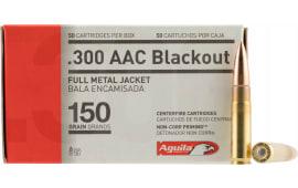 Aguila 1E300110 300 AAC Blackout/Whisper (7.62x35mm) 150 GR Full Metal Jacket Boat Tail - 50rd Box