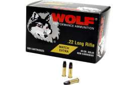 Wolf 22XTRA Match 22 Long Rifle 40 GR Round Nose - 5000rd Case
