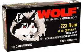 Wolf 22362HP Performance .223/5.56 NATO Bimetal Jacket 62 GR - 500rd Case