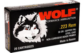 Wolf .223 Performance Ammunition - Case, .223/5.56 NATO, Bimetal Jacket, 55 GR FMJ, Non-Corrosive - 1000 Rounds