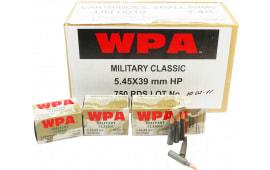 Wolf MC545BSP Military Classic 5.45x39mm Ballistic Silvertip 55 GR - 750rd Case