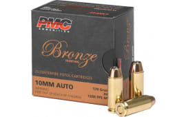 PMC 10B Bronze 10mm Ammunition, 170 GR, Jacketed Hollow Point, Brass, Boxer, N/C, Re-loadable - 25 Rounds/ Box - 500 Round Case