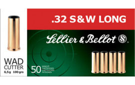 Sellier & Bellot SB32SWLB Handgun 32 Smith & Wesson Long 100 GR Wadcutter - 50rd Box
