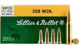 Sellier & Bellot SB308B Rifle Training 308 Winchester/7.62 NATO 180 GR FMJ - 20rd Box
