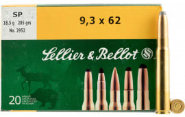 Sellier & Bellot SB9362A Rifle 9.3mmX62 Mauser 285 GR Soft Point - 20rd Box