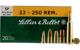 Sellier & Bellot SB22250B Rifle 22-250 Rem 55 GR Soft Point - 20rd Box
