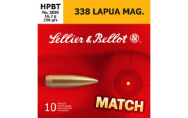 Sellier & Bellot SB338LMA Rifle Match 338 Lapua Magnum 250 GR Boat Tail Hollow Point - 10rd Box