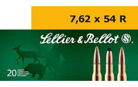 Sellier & Bellot SB76254RA Rifle Training 7.62X54mm Russian 180 GR FMJ - 20rd Box