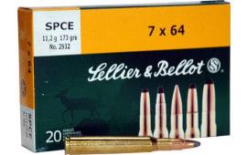 Sellier & Bellot SB7A Rifle Hunting 7mm Rem Mag 173 GR Spce (Soft Point Cut-Through Edge) - 20rd Box