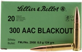 Sellier & Bellot 300BLKA Rifle 300 AAC Blackout 124 GR Full Metal Jacket - 20rd Box