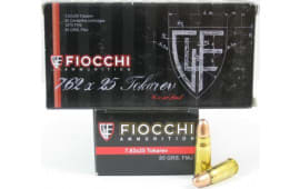 Fiocchi 762TOK Specialty 7.62X25mm Tokarev 88 GR Metal Case (FMJ) - 50rd Box