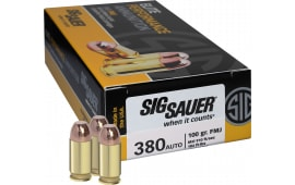 Sig Sauer E380B1-50 Full Metal Jacket 380 ACP 100 GR FMJ - 50rd Box
