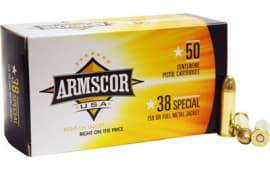 Armscor FAC3817N 38 Special 158  GR Full Metal Jacket - 50rd Box