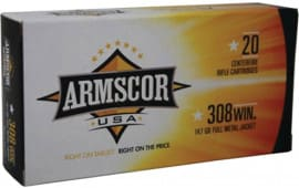 Armscor FAC3081N 308 Winchester/7.62 NATO 147  GR Full Metal Jacket - 20rd Box