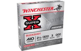 """Winchester Ammo XB41000 Super-X 410 GA 2.5"""" Copper-Plated Lead 3 Pellets 000 Buck - 5sh Box"""
