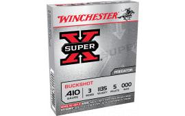 """Winchester Ammo XB413 Super-X 410 GA 3"""" Copper-Plated Lead 5 Pellets 000 Buck - 5sh Box"""
