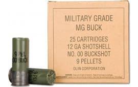 "Winchester Ammo Q1544VP Military Grade 12 GA 2.75"" Buckshot 9 Pellets 00 Buck - 25sh Box"