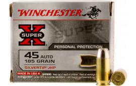 Winchester Ammo X45ASHP2 Super X 45 ACP 185 GR Silvertip HP - 20rd Box