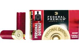 "Federal PD1564B Premium Personal Defense 12 GA 2.75"" Buckshot 34 Pellets 4 Buck - 5sh Box"