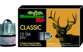 """Brenneke SL122CLM Classic Magnum 12 GA 2.75"""" 1-1/8oz Slug - 5sh Box"""