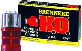 """Brenneke SL122KO K.O. 12 GA 2.75"""" 1oz Slug Shot - 5sh Box"""