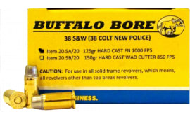 Buffalo Bore Ammunition 20.5A/20 38S&W (38 New Colt Police) 125 GR Hard Cast Flat Nose - 20rd Box