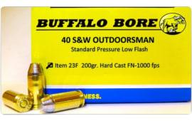 Buffalo Bore Ammunition 23F/20 Outdoorsman 40 S&W 200 GR Hard Cast Flat Nose - 20rd Box
