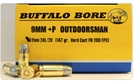 Buffalo Bore Ammunition 24L/20 Outdoorsman 9mm Luger +P 147 GR Hard Cast Flat Nose - 20rd Box