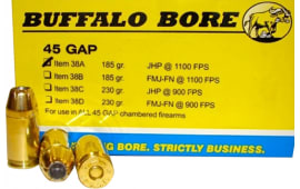 Buffalo Bore Ammunition 38A/20 45 For Glock Auto Pistol (GAP) Jacketed Hollow Point 185 GR 20Bx/12C - 20rd Box