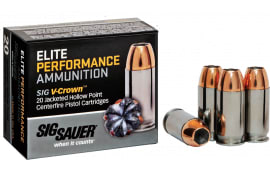 Sig Sauer E9MMA220 V-Crown Elite Performance 9mm Luger 124 GR Jacketed Hollow Point - 20rd Box