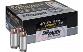 Sig Sauer E40SW220 V-Crown 40 S&W 180 GR Jacketed Hollow Point - 20rd Box