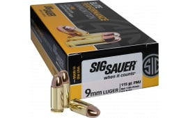 Sig Sauer E9MMB1-50 Full Metal Jacket 9mm Luger 115 GR FMJ - 50rd Box