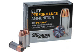 Sig Sauer E38SU1-20 V-Crown 38 Super +P 125 GR Jacketed Hollow Point - 20rd Box