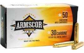 Armscor FAC30CIN 30 Carbine 110 GR Full Metal Jacket - 50rd Box