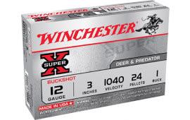 "Winchester Ammo XB1231 Super-X 12GA 3"" Buckshot 24 Pellets 1 Buck - 5sh Box"