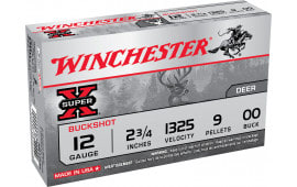 "Winchester Ammo XB1200 Super-X 12GA 2.75"" Lead 9 Pellets 00 Buck - 5sh Box"