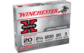 "Winchester Ammo XB203 Super-X 20GA 2.75"" Copper-Plated Lead 20 Pellets 3 Buck - 5sh Box"