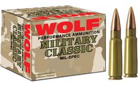Wolf MC308FMJ168 Military Classic 308 Winchester/7.62 NATO FMJ 168 GR - 500rd Case